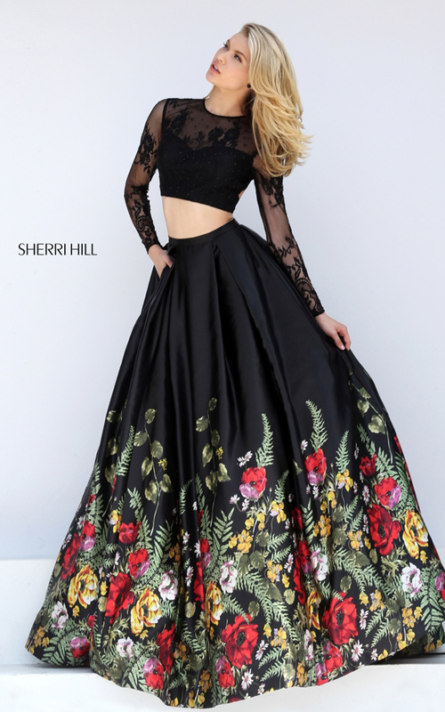BLACK SHERRI HILL 50599 OPEN BACK LACE LONG SLEEVES BALL GOWN ...